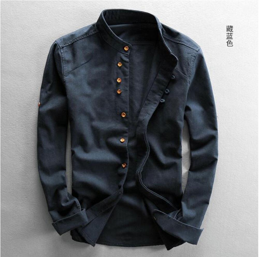 H31afad500a5d40359120989fa241ceb24 New sexy Men's Cotton Linen Shirts Long Sleeve Men Casual Slim Mandarin Collar Shirts Summer Beach Shirt plus size 6xl