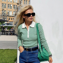 Hirigin Houndstooth Plaid Turn Neck Knitted Long Sleeve Bodysuits Autumn Winter 2021 Button Up Vintage Elegant Bodys Mujer Tops