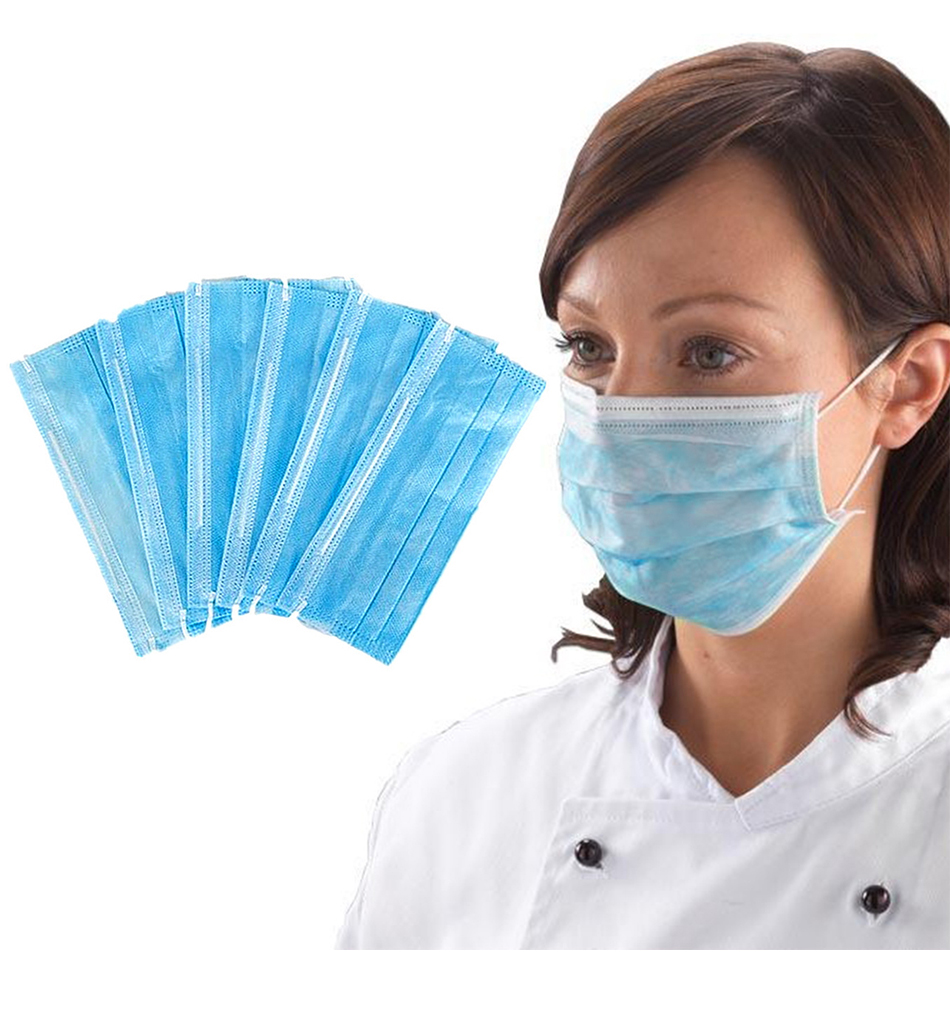 50Pcs Antivirus 1 Disposable Mask Virus Nonwove 3 Layer Ply Filter Mouth Face Mask Dust BFE95 Meltblown Mouth Masks 50 Pcs