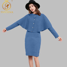 Baru Musim Gugur dan Musim Dingin Merajut 2-Potong Sesuai Single Breasted Cape Jubah Lengan Sweater + Panjang Lengan Rajutan Dress suit(China)