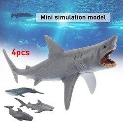 4 шт. мини-моделирование морских животных модели детей раннего образования познание игрушка Моделирование Кита акулы модели коллекционная ...