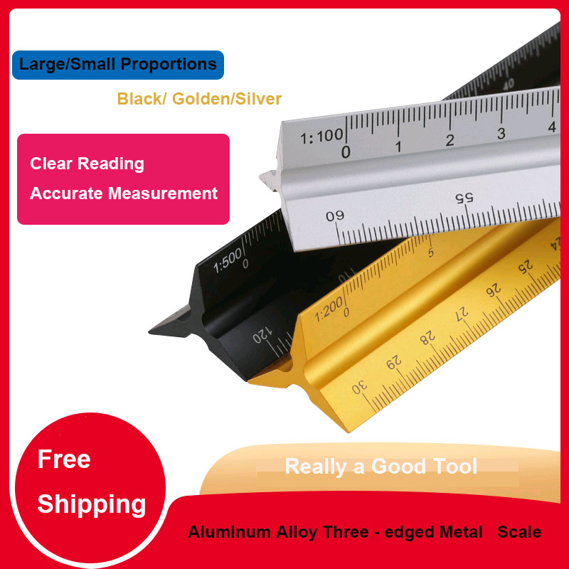 Triangular Metal Scale Ruler Aluminum Alloy  30cm  Engineers Architect Technical Architecture Drawing Tool Drawing Ruler