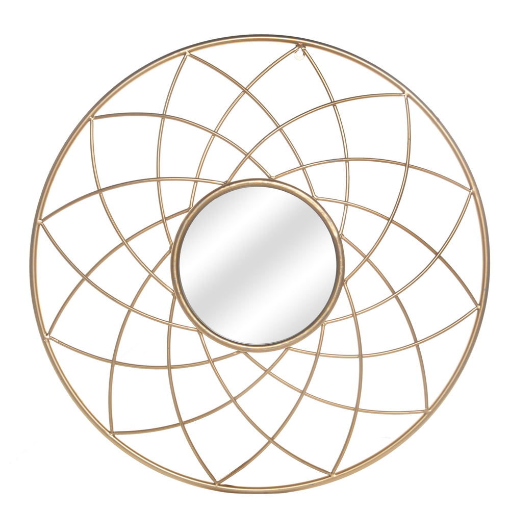 Artisasset Iron Wall Mirror High-Quality Flat Decorative Mirror for Bathroom Vanity Living Room Mantle or Entryway Golden[US-W] 1