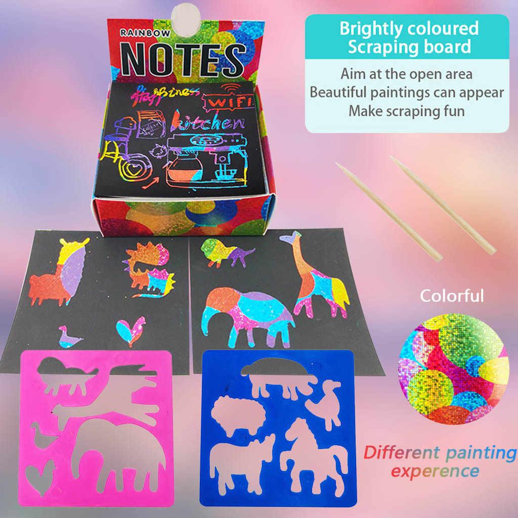 100 Holographic Rainbow Paper Scratch Notes Set Scratch Doodle Art Childrens Creative DIY Scratch Painting
