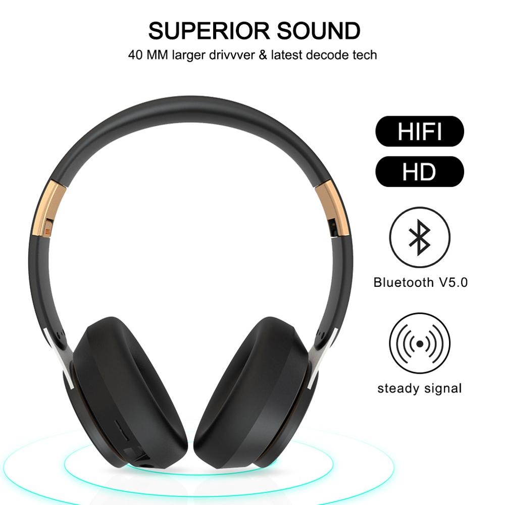 lowest price Tourya T7 Wireless Headphones Bluetooth 5 0 Headset Foldable Stereo Adjustable Earphones With Mic for phone Pc TV Xiaomi Huawei