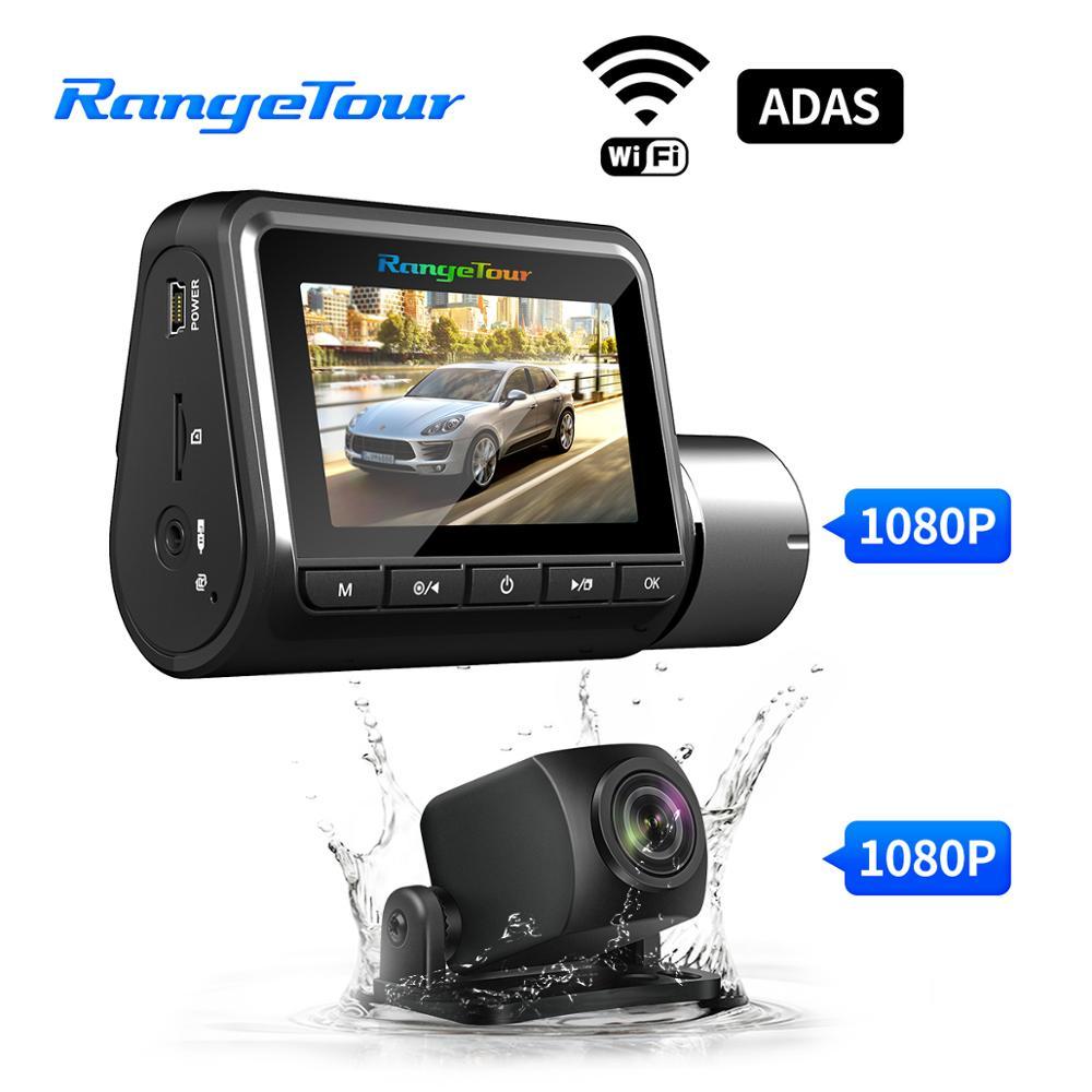 2 kamery wideorejestrator samochodowy WiFi ADAS kamera na deskę rozdzielczą podwójny obiektyw 1080P + 1080P obsługa lustrzanym odbiciem pojazdu kamera samochodowa rejestrator jazdy