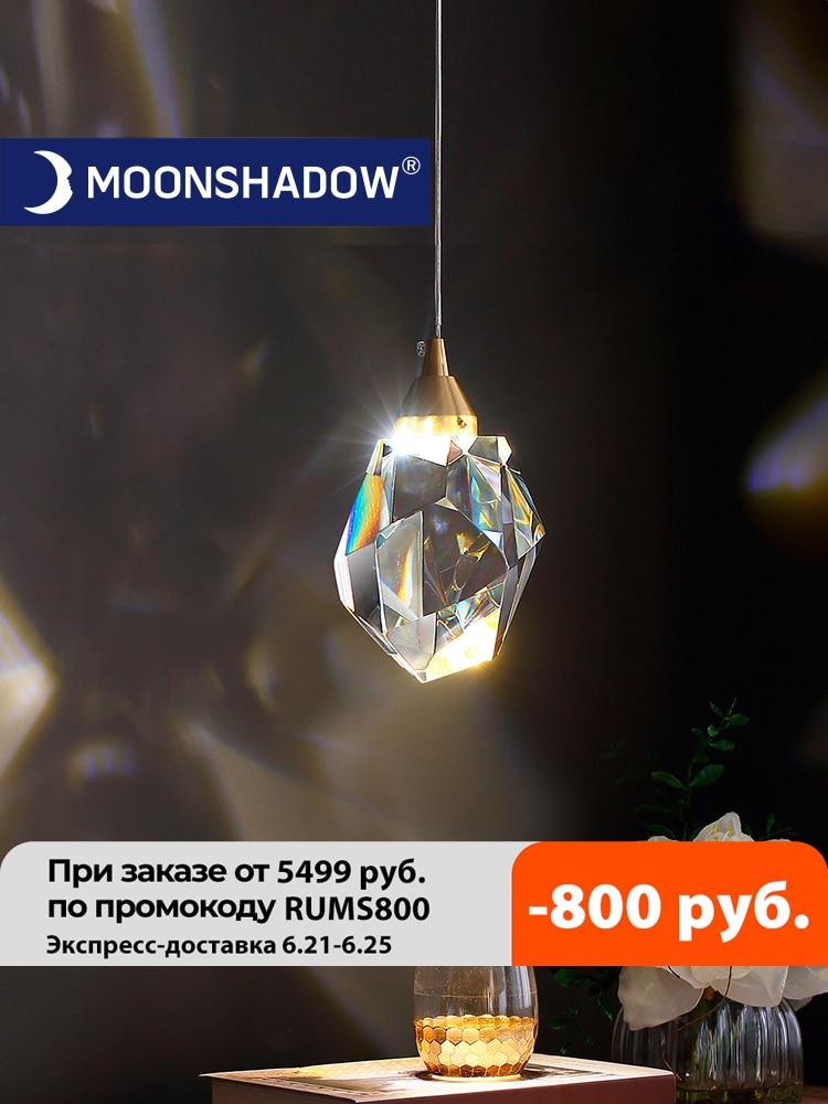 MOONSHADOW Pendant Lights Bedroom Led Full Brass Crystal Nordic Lamp Luminaire Suspension Decoration Salon Hanging Lamp 220V