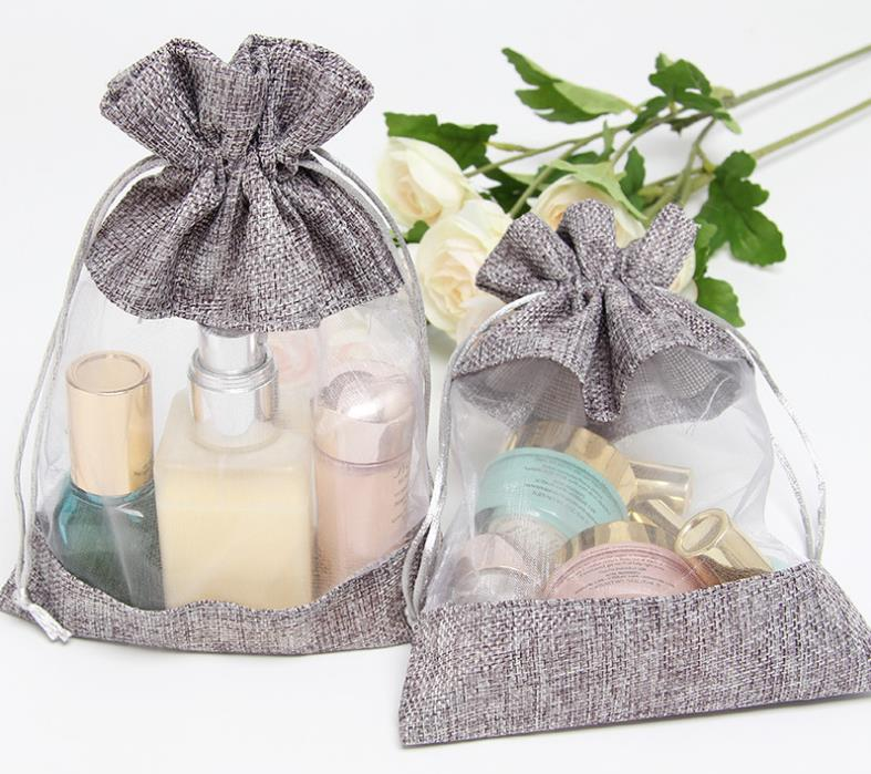 10x14cm Clear Window Jute Gift Bag Burlap Party Favor Sack Bag Linen Drawstring Pouch Organza Jewelry Gift Candy Bag SN3099
