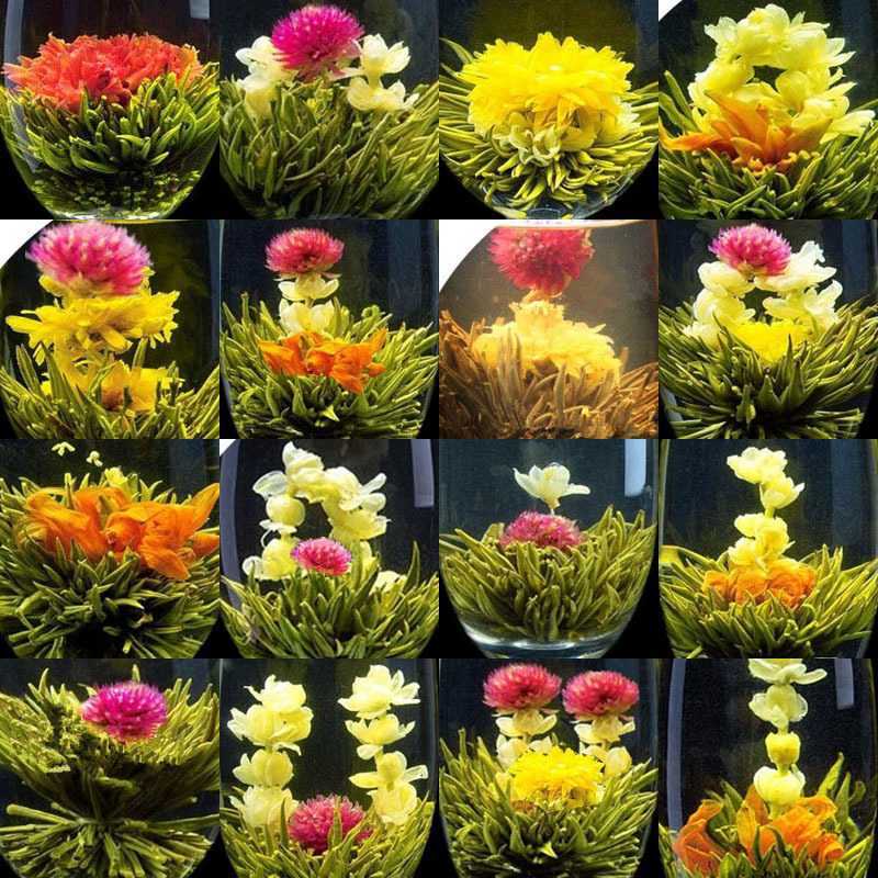 16 Pieces 16 Kinds Chinese Blooming Flower Tea Green Tea Ball Artistic Blossom Flowers Tea  China Blooming Tea Green Organic