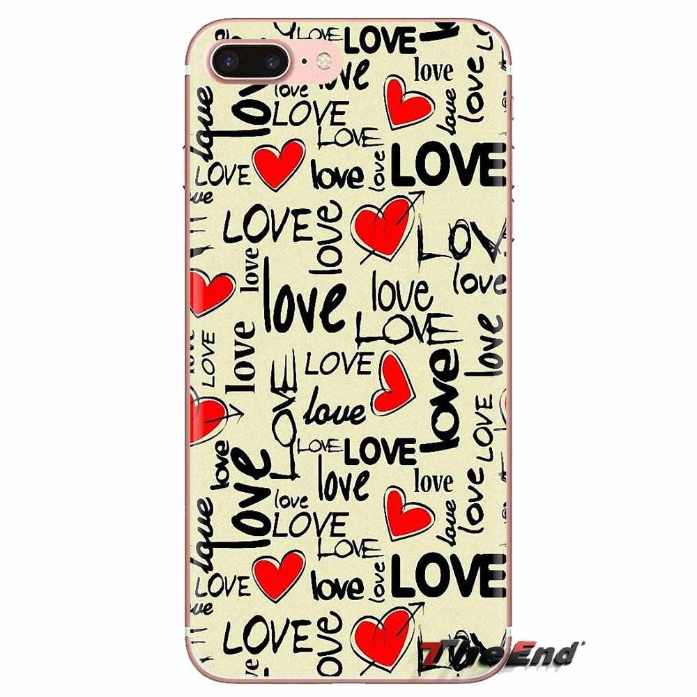 For Samsung Galaxy S2 S3 S4 S5 MINI S6 S7 edge S8 S9 Plus Note 2 3 4 5 8 Coque Fundas colorful Housing Red hearts Stripe Housing