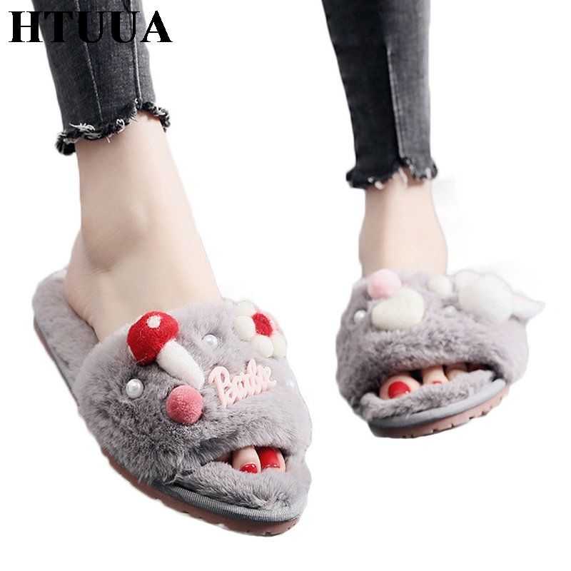 HTUUA Indoor Slippers House Home-Shoes Furry Plush Winter Women Ladies Warm Oxford Autumn