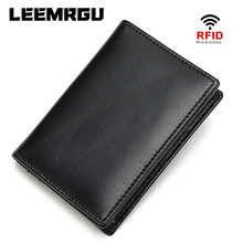 Leather men's wallet Rfid vintage leather multi-function hand short wallet sheepskin business card holder coin pocket coin purse