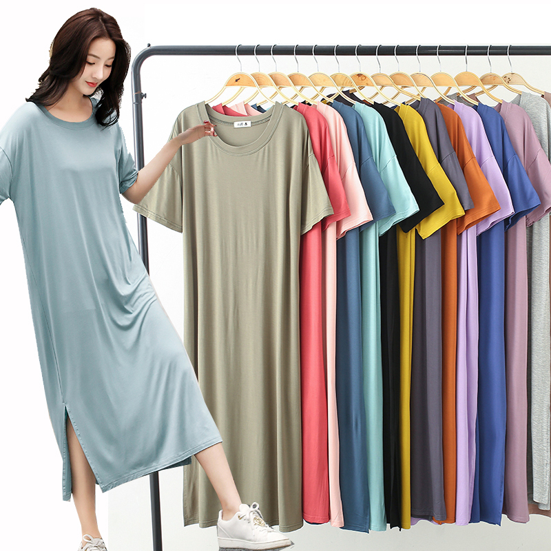 New Ladies Basic Sleep Shirt Sexy Lingerie Solid Long Nightgown Modal Sleepwear Summer Loose Pregnant Nighty Nightdress