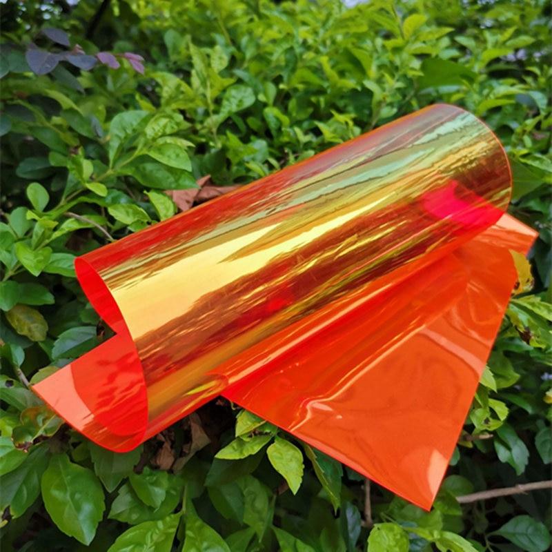 Laser Iridescent Holographic Film Clear Transparent PVC Fabric Laser Rainbow Shiny Vinyl Material Bow Craft Bag 1pcs/lot