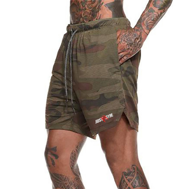Men's Camouflage 2 In 1 Joggers Gyms Shorts Men Sportswear Fitness Shorts Quick Dry Exercise Shorts Built-in Security Pocket