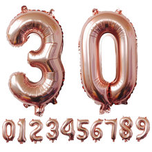 16Inch Number Balloons Foil Balloon Gold Silver Blue Digital Globos Wedding Birthday Party Decoration Baby Shower Supplies@03(China)