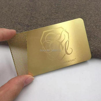 New Laser Cut metal Gold Metal Card etched glossy gold business card