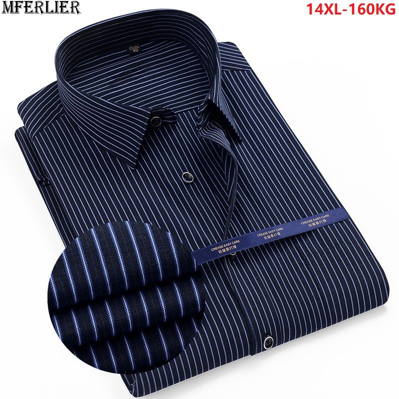 High Quality Summer Striped Shirt Men Plus Size Big 8XL 9XL 10XL 12XL Work Formal Shirts Oversize Business Dress Shirt Cotton 70