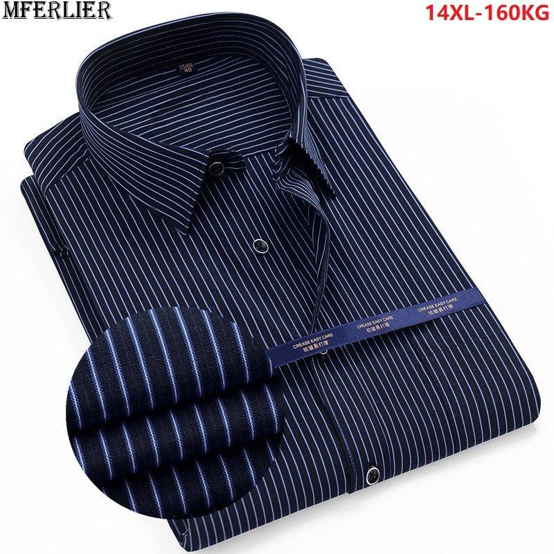 High Quality Summer Striped Shirt Men Plus Size Big 8XL 9XL 10XL 12XL Work Formal Shirts Oversize Business Dress Shirt Cotton 70