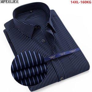 high quality summer striped shirt men plus size big 8XL 9XL 10XL 12XL work formal shirts oversize Business Dress shirt cotton 70(China)