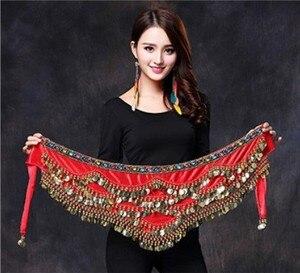 Image 3 - Women Belly Dance Costume Hip Scarf Accessories Belt Skirt  Bellydance Coins Silk Scarf Waist Chain Wrap Crystal Adult Dancewear
