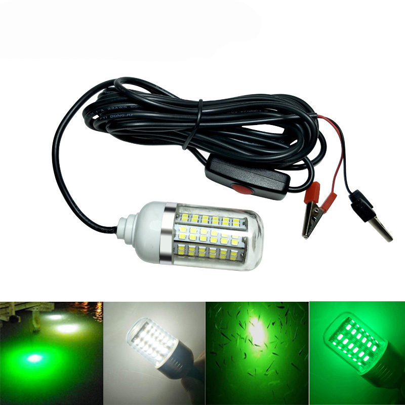 12V LED Fishing Light Underwater Lamp 2835 108pcs Marine Lights Night LED Boat Fishing Finder Lamp Attracts Prawns Squid Krill