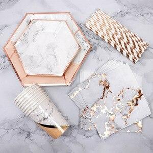 Image 1 - ฟอยล์สีทองหินอ่อนทิ้งบนโต๊ะอาหารกระดาษแผ่นถ้วยเด็กทารกโปรดปรานกระดาษดื่ม Straws งานแต่งงานอุปกรณ์