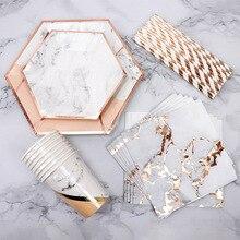 Canudo descartável de mármore, folha de ouro, copos de papel do partido, chá de bebê, lembrancinha de papel, utensílios para festa de casamento