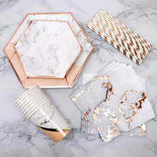 Złota folia marmur jednorazowe zastawy stołowe papierowe talerze na przyjęcia kubki Baby Shower Favor papierowe słomki do picia materiały na wesele