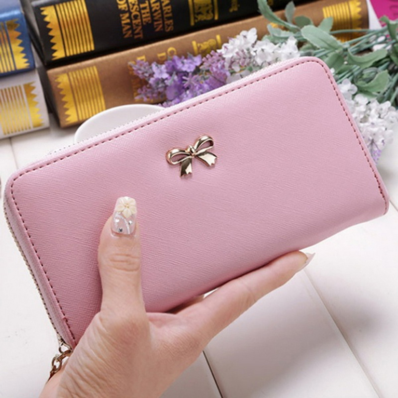 Cards Holder Wallet Ladies Cute Bowknot Women Long Wallet Pure  Bag 2020 New PU Leather Purse Phone Card Holder Bag