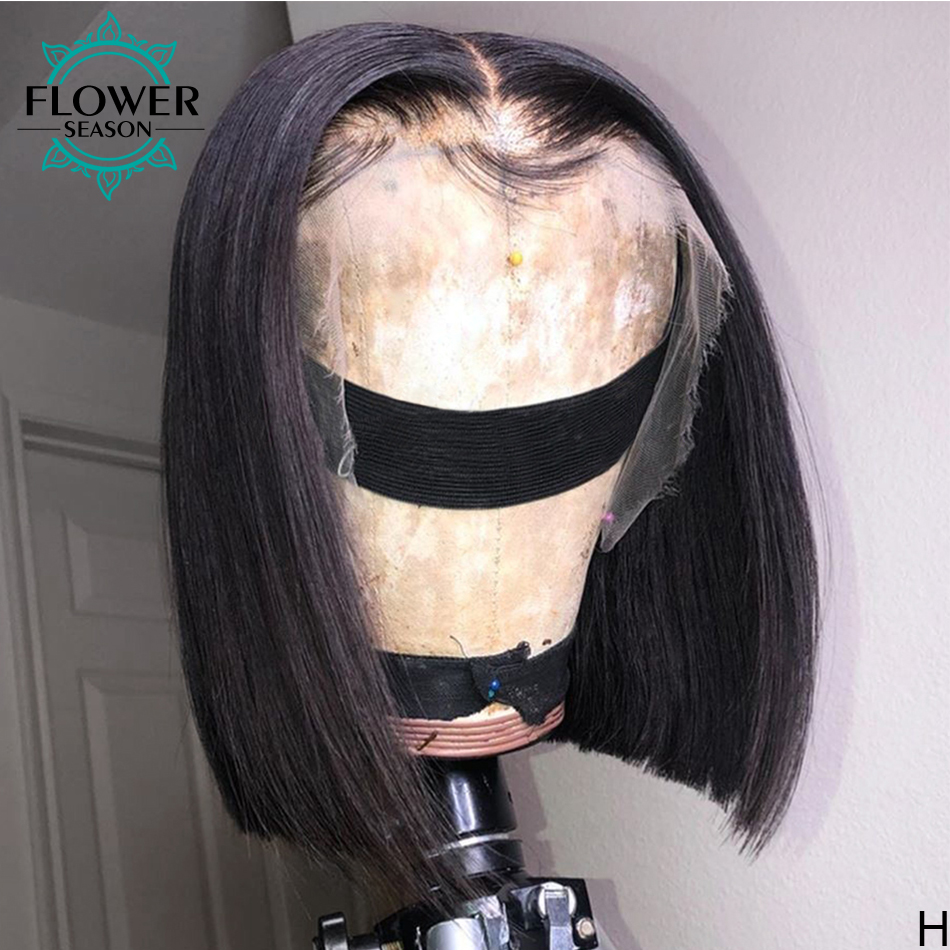 Full Lace Wigs Hand Tied Glueless Human Hair Bob Wig Short Brazilian Remy With Baby Hair For Women 130% Preplucked FlowerSeason
