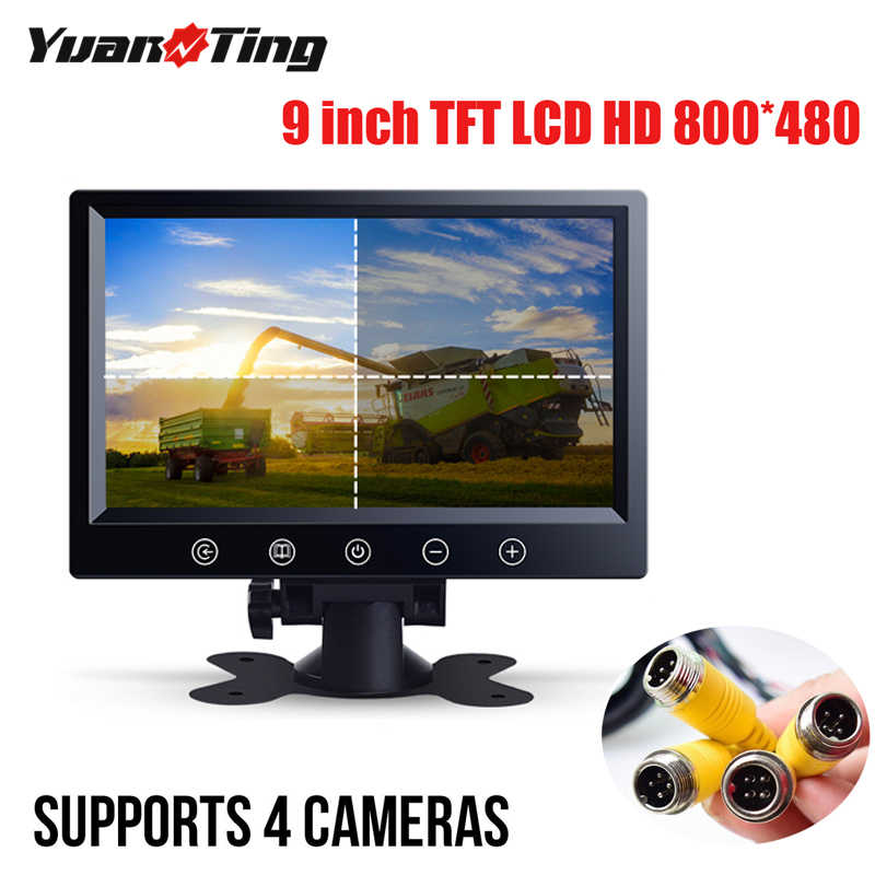 7 inch HD Quad Split 4CH Car LCD Monitor for Bus Truck Trailer Caravan Camper RV Vehicle Backup Cameras Monitor kit 4 Pin System 12V//24V,4 x Front Side Rear View Camera