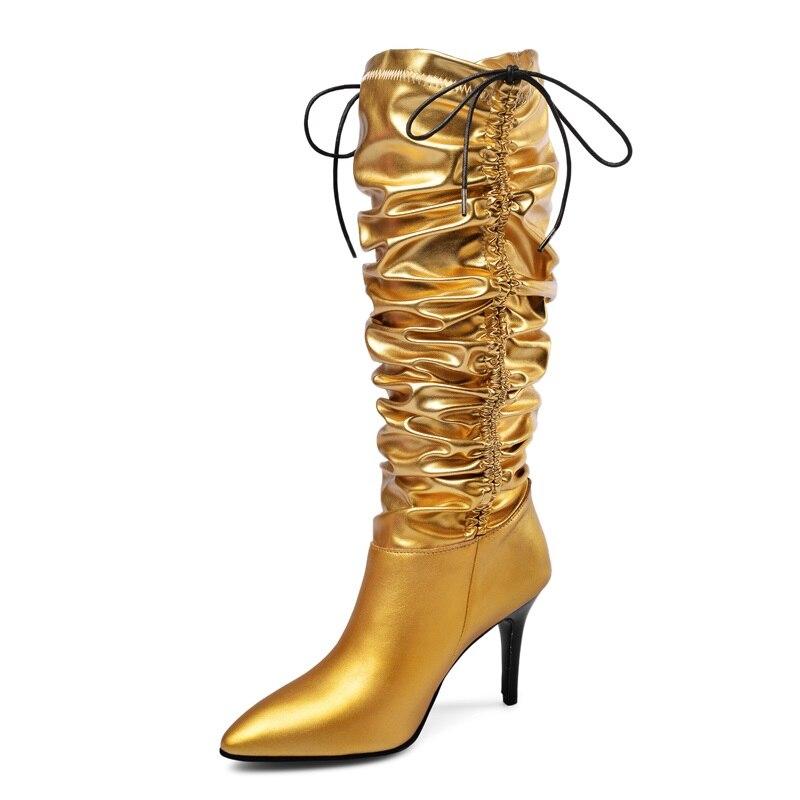 ブランドの靴を着用する 2 方法ノベルティ倍パテントレザー女性大腿膝高ブーツセクシーなポインテッドトゥハイヒール足首ダンスブーツ  グループ上の 靴 からの ニーハイブーツ の中 1