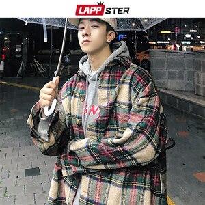 Image 2 - لابستر الرجال الشارع الشهير منقوشة معطف صوف 2020 رجل Harajuku Jackets الكورية نمط جاكيتات معاطف الذكور الهيب هوب جاكيتات سترة واقية