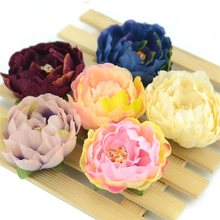 5/20pcs 5cm Vintage Autumn Silk Artificial Peony Flower Heads For Wedding Home Decoration DIY Wreath Fall Vivid Fake Flowers(China)