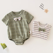 Baby Newborn Infant Cotton Jumpsuit Bebe Boy Girl Striped Romper Clothes Short Sleeve Cute Fashion Summer Outfit Summer Clothing
