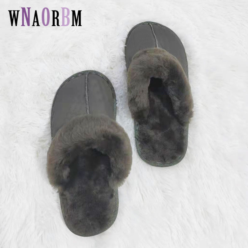 Winter Fashion Men's Home Slippers 100% Sheep Shearing Fur Warm Shoes Ladies Slip Flat Shoes Men's Fur Slippers 36-44