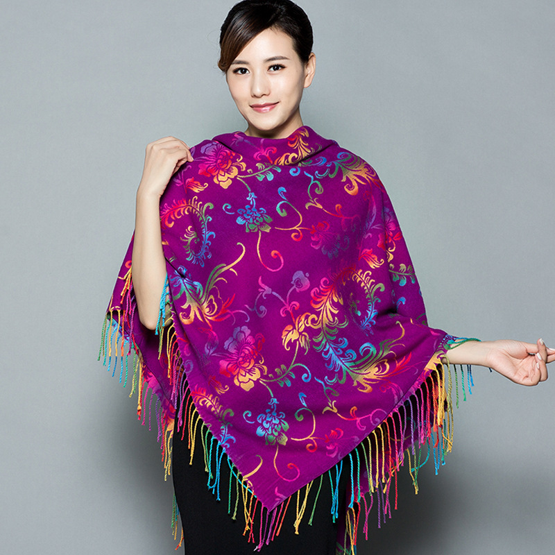 Women Dual-use Thickening Large Square Scarf  Autumn And Winter Ethnic Cashmere Shawl Scarf  Warm Cloak Square