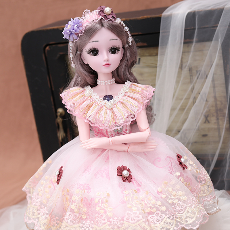 <font><b>60cm</b></font> BJD <font><b>Doll</b></font> with Princess Dress 1/3 SD <font><b>Dolls</b></font> 20 Jointed <font><b>Dolls</b></font> with Clothes Outfit Shoes <font><b>Wig</b></font> Hair Makeup Gift for Girls AT91 image
