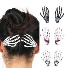 Hair-Clips Claw-Hair-Accessories Ghost-Skeleton Crystal/acrylic Fashion 1pcs Skull-Hand-Bone