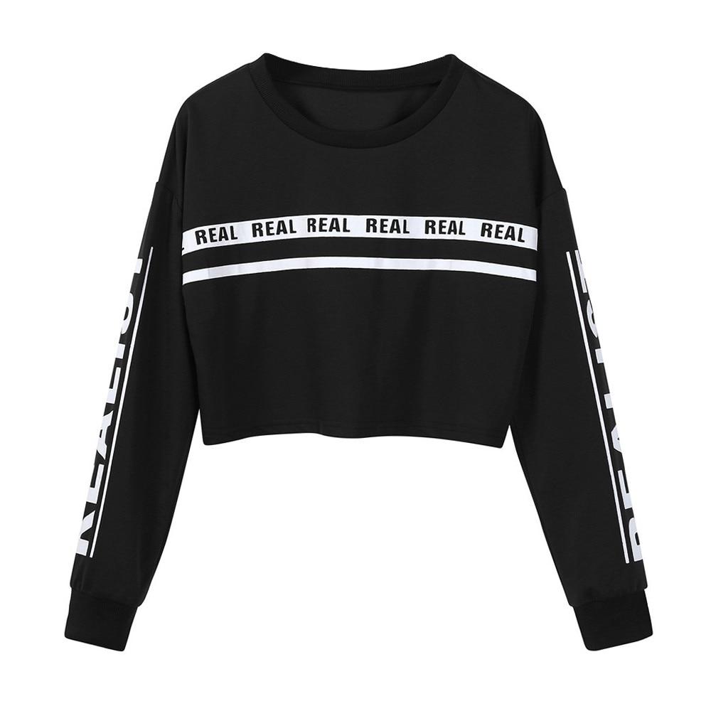 Women Fashion White Letter Print Crop Sweatshirt Top Blouse Round Neck Short Sweatshirt Moletom Feminino