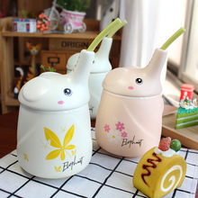 Schoolgirl long-nosed elephant straw cup creative ceramic cartoon milk coffee mug 3d animal The