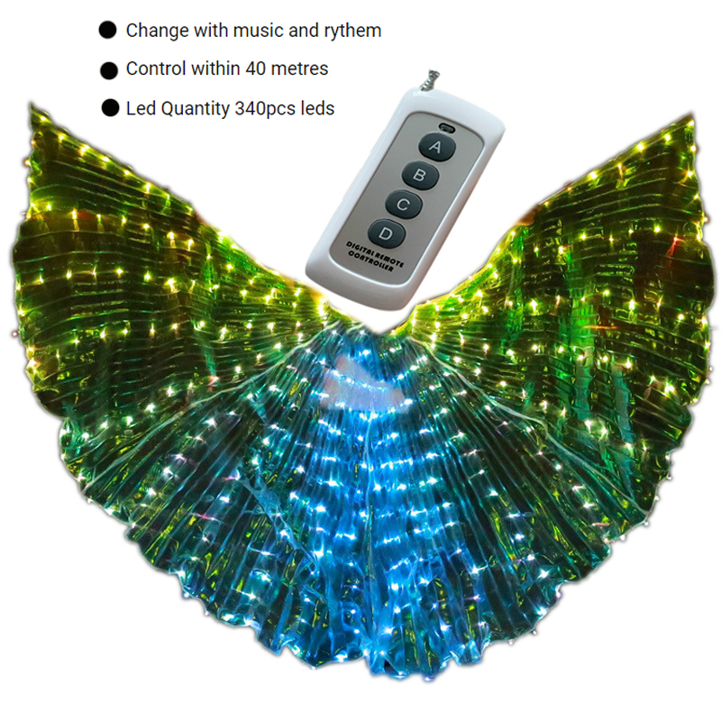 Women Belly Dance Led Isis Angle Wings Remote Control Bellydance Costume Accessories Stage Performance Prop Egypt Gypsy Carnaval