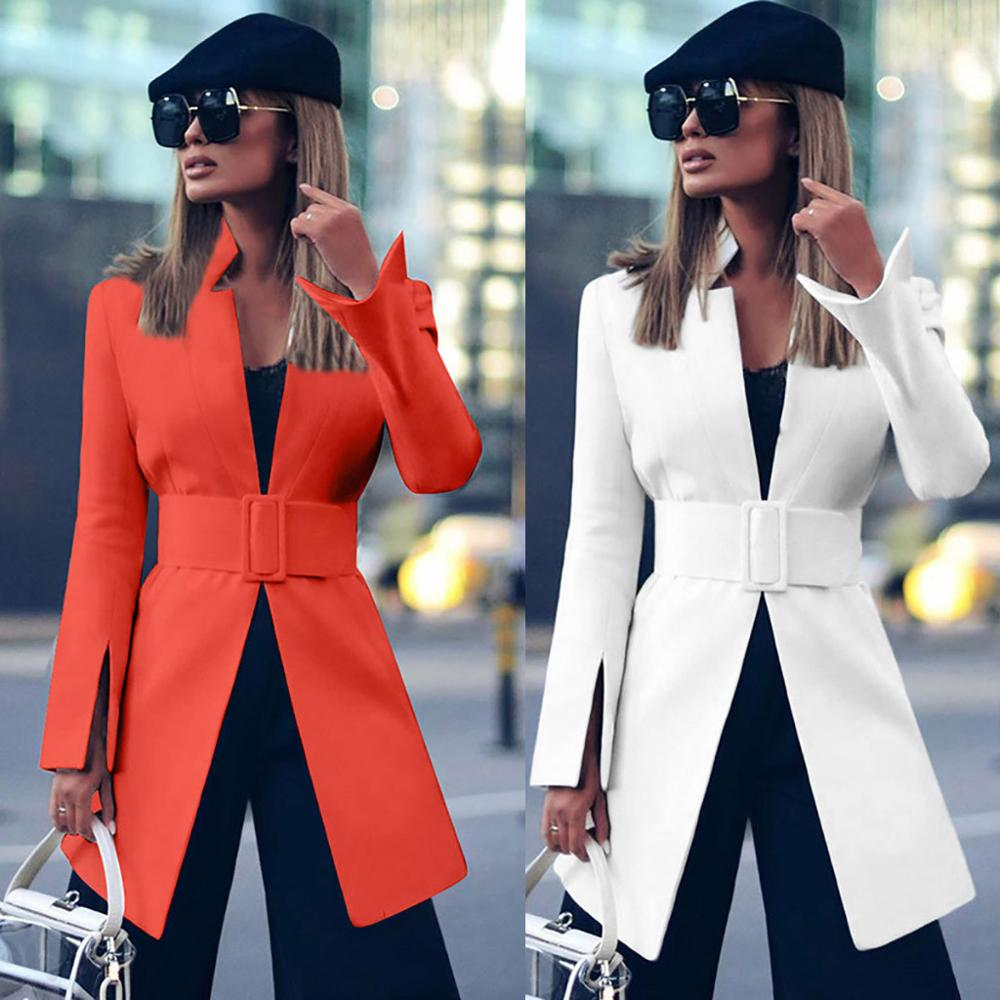 Women Blazer Spring Fashion Office Sexy Deep-V Belt Coat Chaqueta Mujer Blazer Feminino Marynarka Damska Veste Femme Free Ship