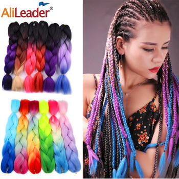 Alileader 102 Colorful Ombre Jumbo Braids Hair For Colored Braiding 24 Inch Crochet Extension Synthetic