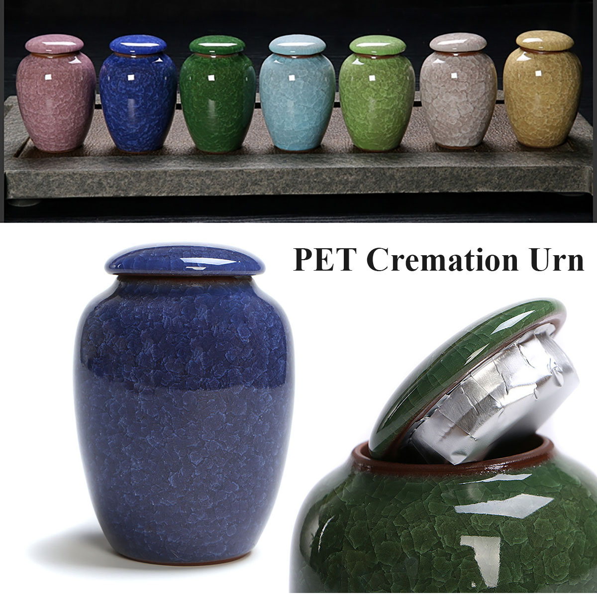 200ml Ice Glaze Cremation Urns Funeral Keepsake Pet Dog Cat Cremation Urn