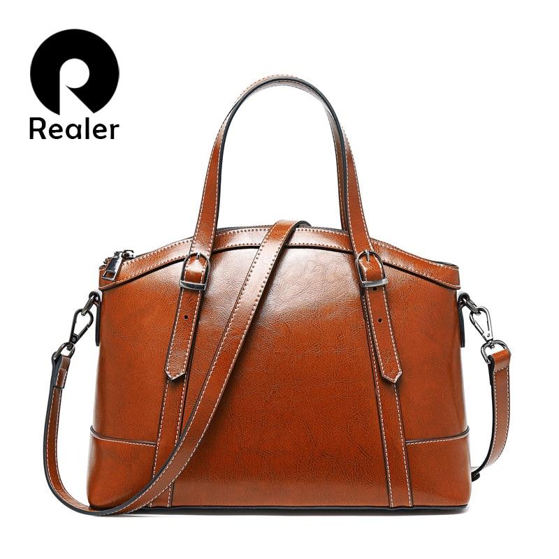 REALER Luxury Women Handbags Female Vintage Leather Shoulder Bag Large Capacity Totes Crossbody Bags For Ladies 2019