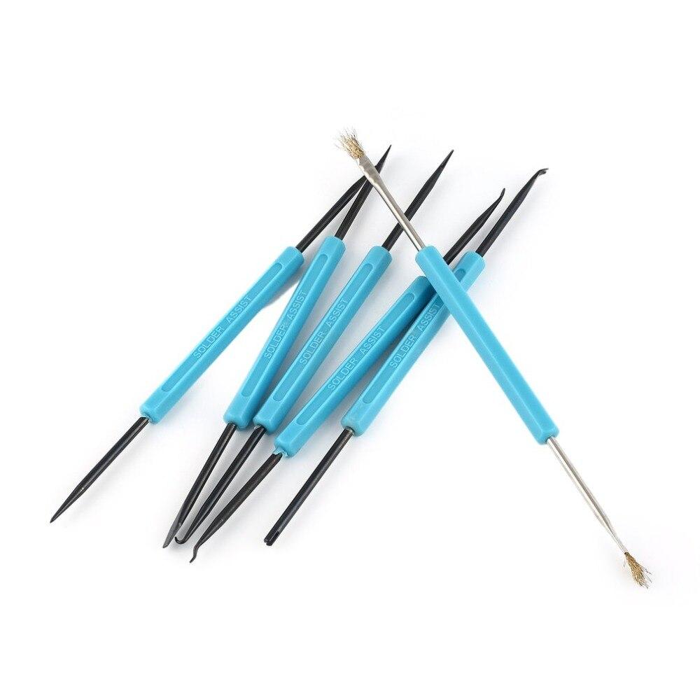 6Pcs Welding Solder Soldering Station Iron Tool Electronic Heat Assist Set Knife Fork Reamer Chip Hold Brush Needle Kit