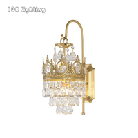 Nordic Luxury Crystal Wall Sconce Lights Copper For Living Room Bedroom Restaurant Aisle E14 G9 LED Bulb Crown Lighting Fixtures