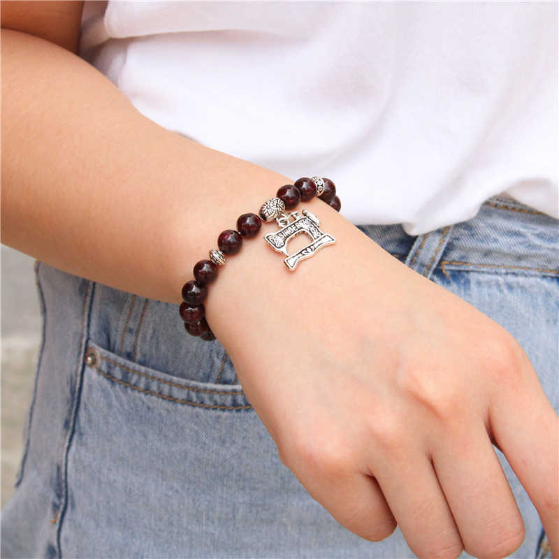 Fashion Cute Natural Stone Garnet Beads Bracelet Antique Silver Sewing Machine Pendant Charm Bracelet for Women Men Jewelry